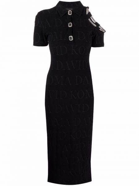 Открытое черное платье мини с короткими рукавами David Koma