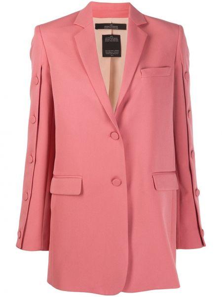Однобортный розовый пиджак с карманами Rokh
