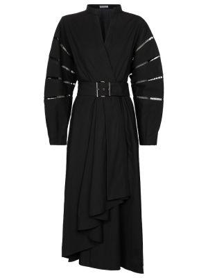 Ватное черное вечернее платье из штапеля Brunello Cucinelli