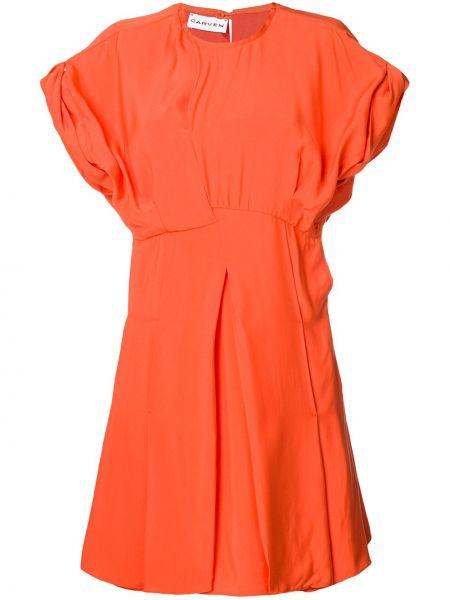 Sukienka mini rozkloszowana krótki rękaw z wiskozy Carven