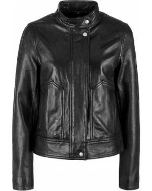 Кожаная куртка черная на молнии Marc O`polo