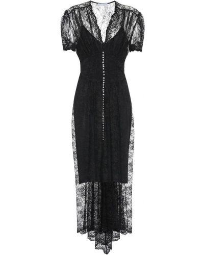 Платье миди с кружевными рукавами черное Paco Rabanne