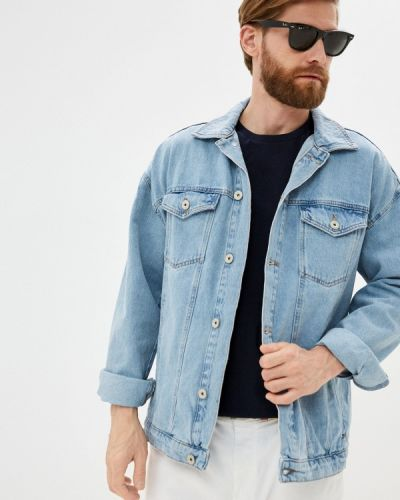 Голубая весенняя джинсовая куртка Defacto