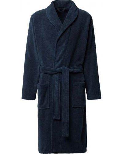 Niebieski szlafrok bawełniany z wiązaniami Tommy Hilfiger