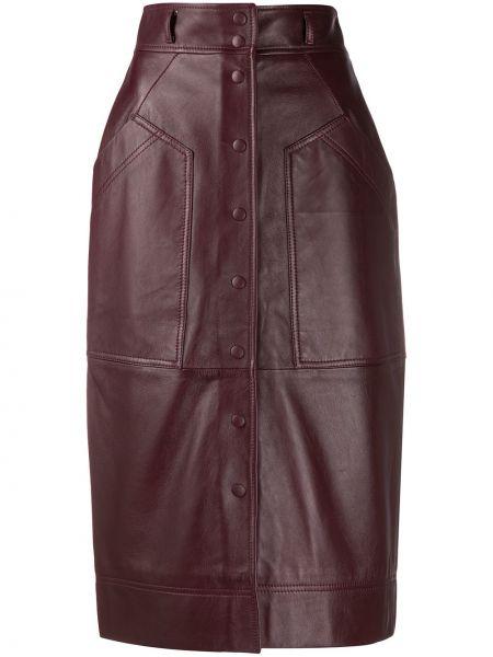 Коричневая с завышенной талией юбка карандаш с поясом с заплатками Alberta Ferretti