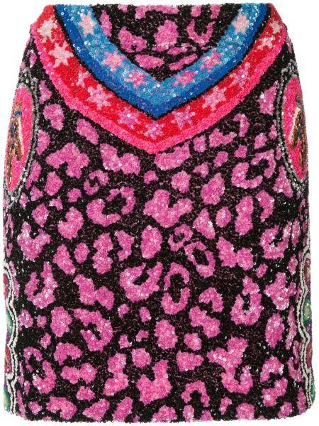 Нейлоновая с орнаментом розовая юбка мини с пайетками Manish Arora