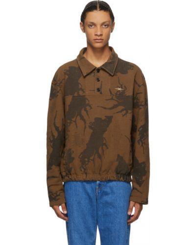 С рукавами коричневый свитшот с карманами с вышивкой Phipps