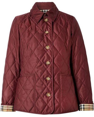 Кожаная куртка длинная - красная Burberry