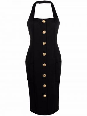 Черное платье миди с вырезом квадратное Balmain