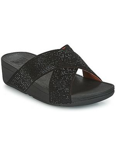 Czarne sandały srebrne Fitflop