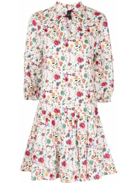 Хлопковое белое платье мини в цветочный принт Nicole Miller