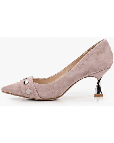 Велюровые розовые туфли-лодочки Mascotte