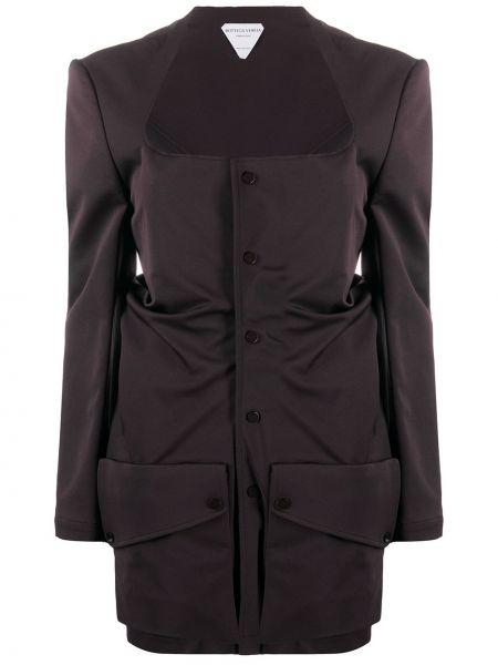 Коричневый приталенный пиджак на пуговицах Bottega Veneta