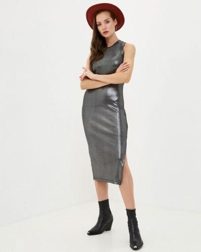 Серебряное прямое джинсовое платье Guess Jeans