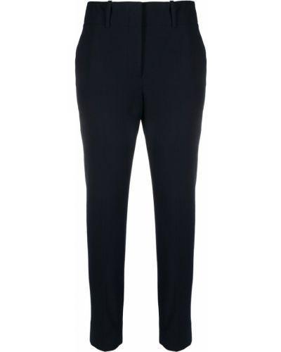 Деловые хлопковые синие укороченные брюки Incotex