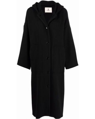 Черное пальто с капюшоном Barena