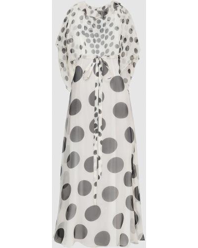 Шелковое белое платье макси Valentino