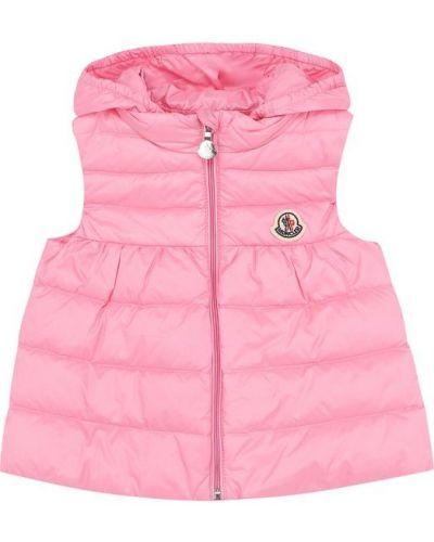 Розовая жилетка с капюшоном Moncler Enfant
