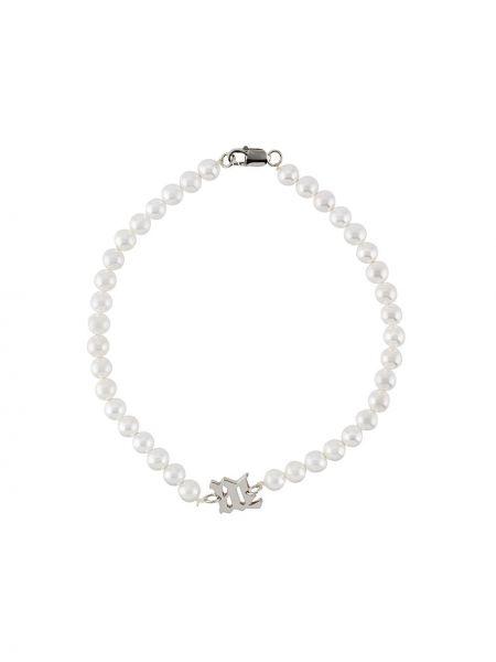 Biały choker srebrny perły Misbhv