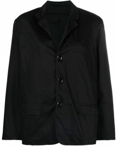 Однобортный черный удлиненный пиджак с карманами Lemaire