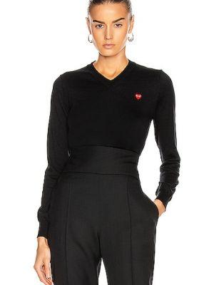 Czarny sweter bawełniany z dekoltem w serek Comme Des Garcons Play