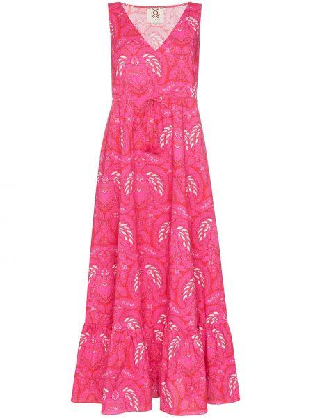 Różowa sukienka długa bez rękawów bawełniana Figue