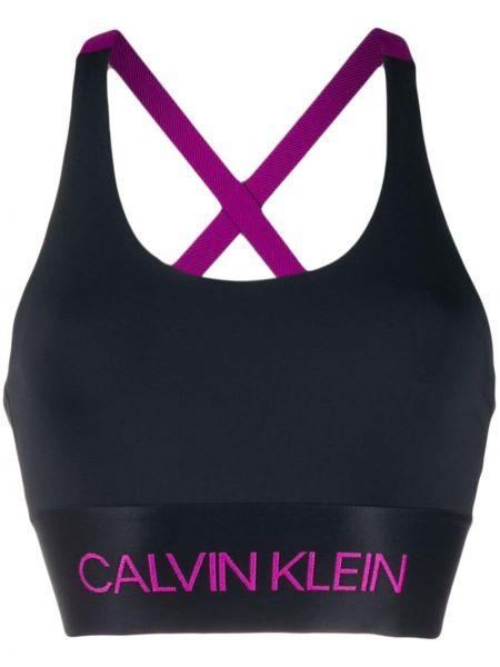 Спортивный бюстгальтер с вышивкой черный Calvin Klein