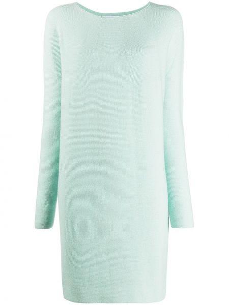 Зеленое шерстяное платье с вырезом трапеция Christian Wijnants
