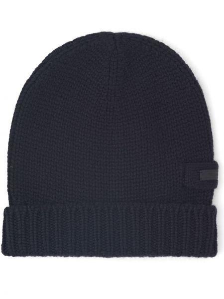 Czarna z kaszmiru czapka Prada