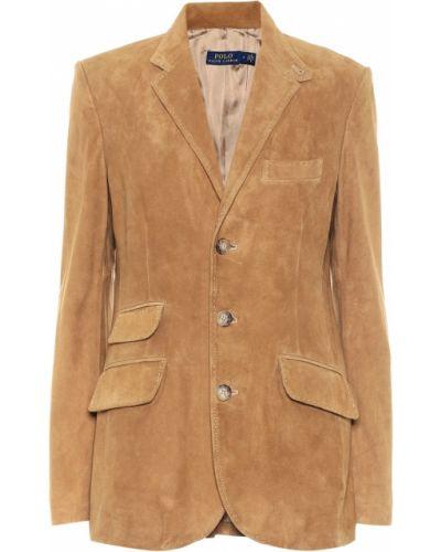 Коричневый кожаный пиджак Polo Ralph Lauren