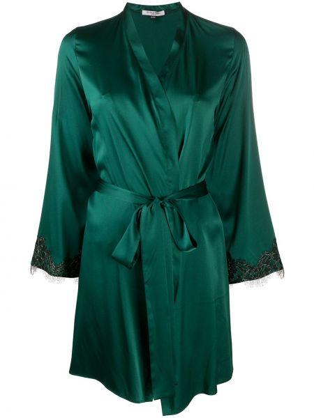Zielony satynowy szlafrok koronkowy Gilda & Pearl