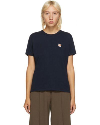 Хлопковая рубашка с коротким рукавом с вышивкой с воротником с короткими рукавами Maison Kitsuné