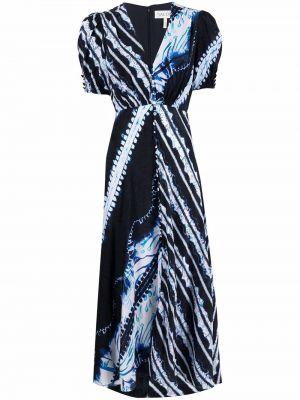 Шелковое черное платье мини с короткими рукавами Saloni