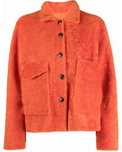 Оранжевая шуба из стриженой овцы Simonetta Ravizza