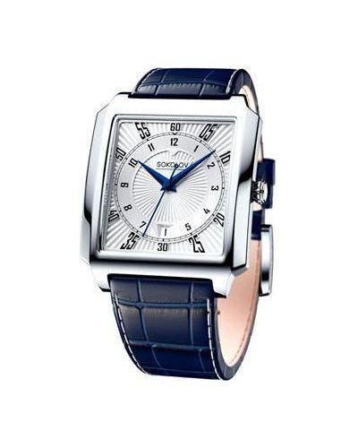 Часы водонепроницаемые с кожаным ремешком кварцевые Sokolov