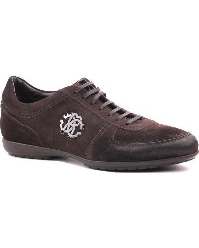 Коричневые кроссовки замшевые Roberto Cavalli