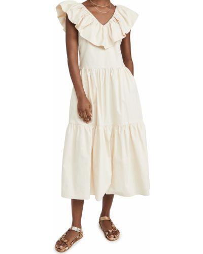 Бежевое платье миди без рукавов с декольте English Factory