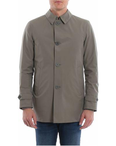 Szary płaszcz z kieszeniami od płaszcza przeciwdeszczowego Herno