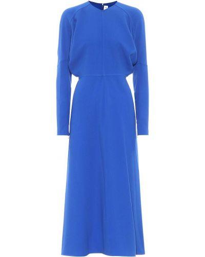 Синее платье миди из вискозы Victoria Beckham