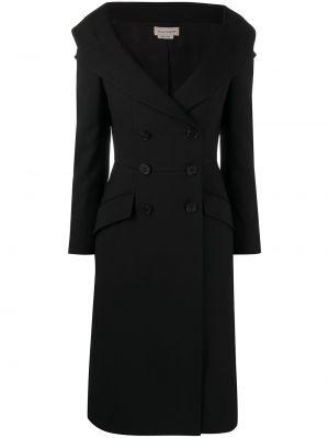 Шелковое черное платье макси на пуговицах Alexander Mcqueen