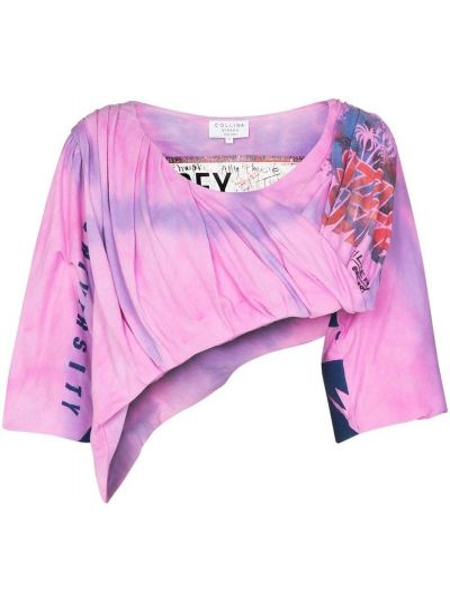Bawełna asymetryczny różowy crop top z draperią Collina Strada