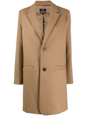 Однобортное приталенное шерстяное длинное пальто с карманами A.p.c.