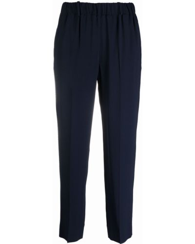 Шелковые прямые синие укороченные брюки Incotex