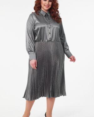 Вечернее платье серое в горошек Wisell