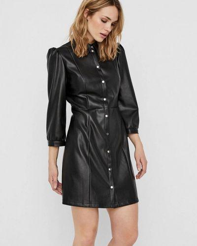 Черное кожаное платье Vero Moda