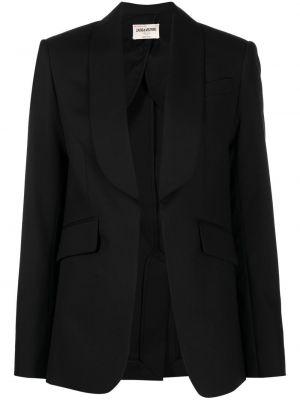 Шерстяной черный удлиненный пиджак с лацканами Zadig&voltaire