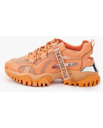 Оранжевые кожаные кроссовки Inario