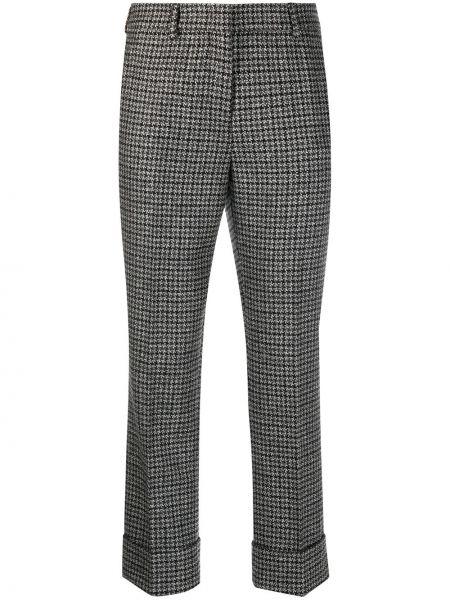 Шерстяные серые брюки дудочки с поясом Incotex