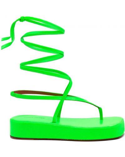 Кожаные сандалии - зеленые Amina Muaddi
