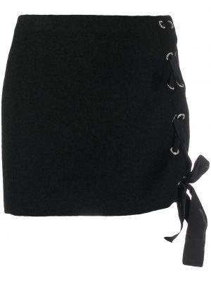 Плиссированная шерстяная черная юбка мини на шнуровке Alessandra Rich